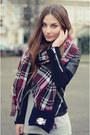 Black-mango-jacket-magenta-marks-spencer-scarf-navy-velvet-zara-bag