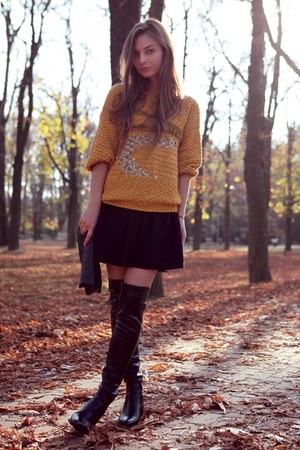 otk Zara boots - knitted DIY sweater - Zara skirt