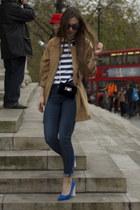 navy denim H&ampM jeans - tan Hokk Fabrica coat - Zara bag - navy Topshop heels