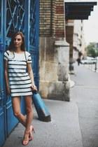 blue sequined Zara dress - navy velvet Zara bag - salmon strappy Zara sandals