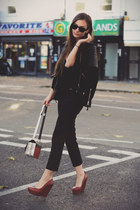 black leather Mango jacket - ruby red Topshop shoes - H&M bag