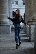 black silk H&M blouse - ankle boots Kurt Geiger shoes - denim H&M jeans