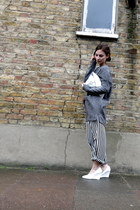 white wedge H&M shoes - silver clutch H&M bag - black bw H&M pants