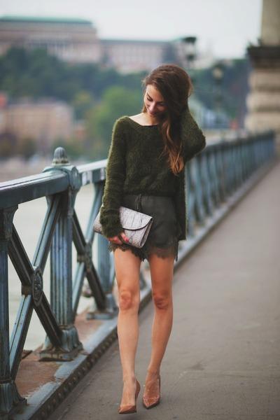 dark green knitted H&M jumper - tan snakeskin Topshop bag