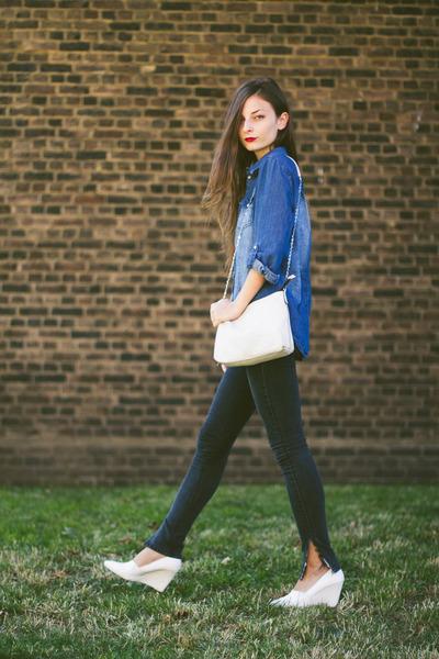 blue denim Primark shirt - white H&M shoes - dark gray diy Zara jeans