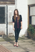 faux leather H&M pants - Marks & Spencer blazer - H&M top - Zara heels