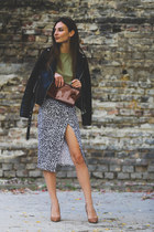 Primark skirt - black leather Mango jacket - F&F bag - Kurt Geiger pumps
