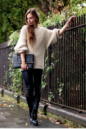 eggshell knitted DIY sweater - TopShop Unique boots - Primark bag