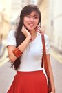 Carrot-orange-dont-ask-amanda-skirt-burnt-orange-vintage-bag