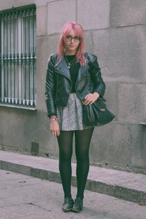 black Zara shoes - heather gray vintage dress - black Lefties jacket