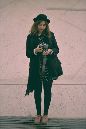 pink Zara shoes - black Zara dress - black thrifted coat - black H&M hat