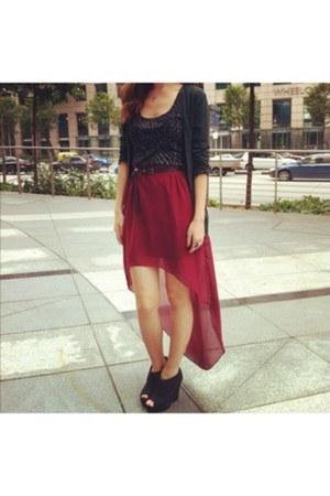 skirt - cardigan - top - new look wedges