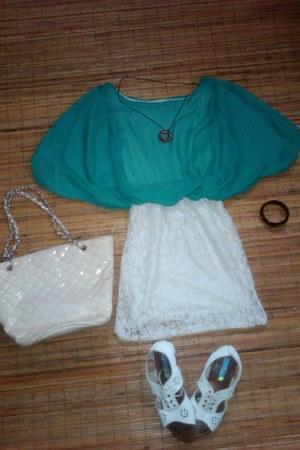 bracelet - dress - bag - necklace - flats