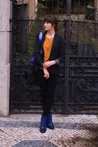 blue grtz boots - black Levis jeans - black Zara blazer - blue Ccoon bag