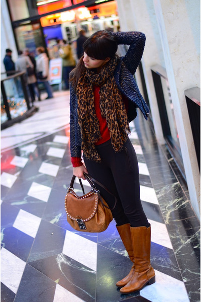 brown Miu Miu bag - brown united colors of benetton boots - navy Zara jacket