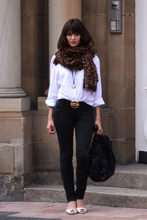 brown LV scarf - dark gray citizens of humanity jeans - white H&M men shirt
