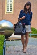 dark brown Francesco Biasia bag - beige castro dress - navy COS blouse
