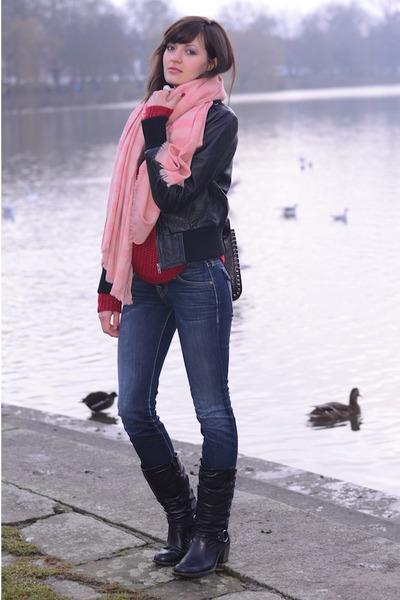 nastygalcom sweater - Bianco boots - True Religion jeans - vintage jacket