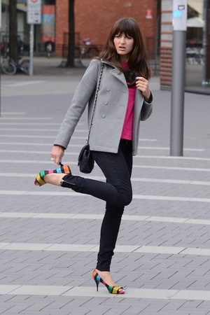 hot pink Zara shirt - heather gray COS jacket - black Madonna for H&M pants