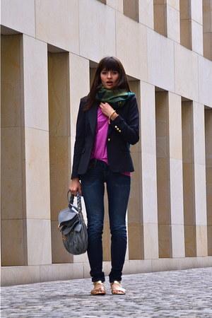 navy Zara blazer - navy True Religion jeans - pink Mango shirt
