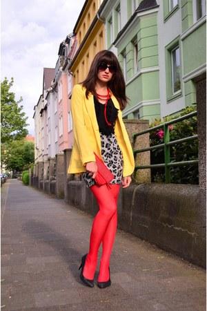 red Falk tights - yellow Mango blazer - heather gray H&M skirt