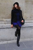 black c&a hat - blue Gate dress - black Deichmann boots - blue sweater - black N