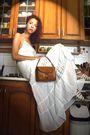 White-promod-dress-white-deichmann-shoes-brown-vintage-purse-brown-gate-ea