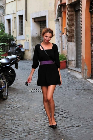 black NewYorker dress - black Gate shoes - purple accessories