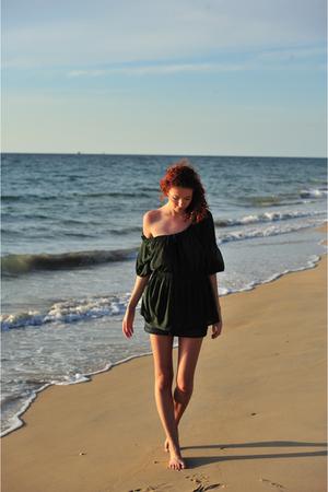 green H&M blouse - blue Terranova skirt