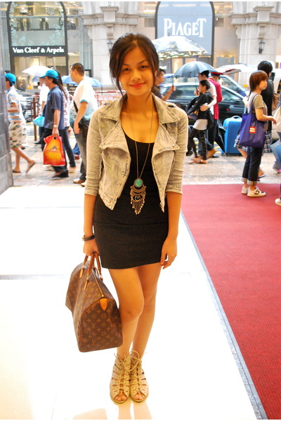 black H&M dress - blue random from Hong Kong jacket - beige shoes - brown Louis