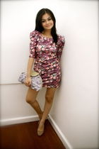purple Pink Manila dress - purple Aranaz purse - brown Zara shoes