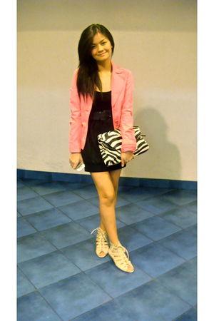 pink Esprit blazer - black SM dress - white shoes - white Tomato top