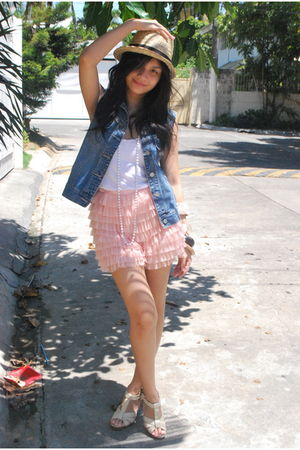 blue vintage vest - pink random from Hong Kong shorts - white Topshop top - whit
