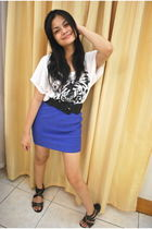 white Rockwell Bazaar shirt - blue H&M skirt - black Hong Kong shoes - black Zar