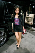 black Topshop blazer - pink H&M blouse - black H&M shorts - black Topshop shoes