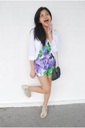 white H&M blazer - purple Hong Kong dress - beige Rockwell Bazaar shoes - black