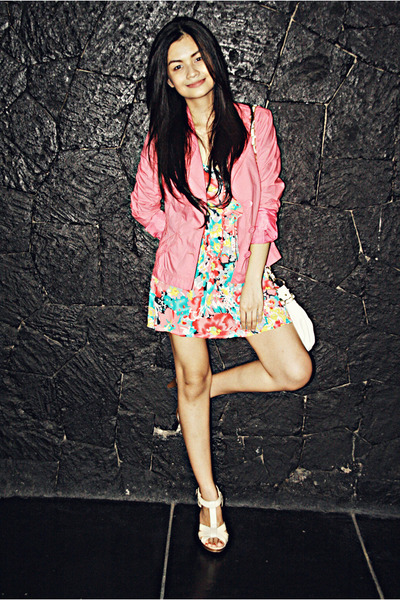 pink random from Hong Kong dress - pink Esprit blazer - beige H&M shoes - white