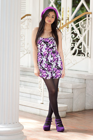 purple Forever 21 dress - purple janilyn shoes - black random brand stockings