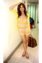 yellow random brand dress - yellow Zara cardigan - brown Michael Kors shoes - br