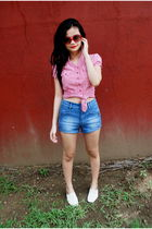 red H&M blouse - blue Zara shorts - white kids of bayo shoes - red H&M sunglasse
