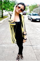 black Topshop blouse - black Topshop leggings - yellow Poisonberry cardigan - bl