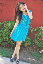 blue Forever 21 dress - blue H&M necklace - blue H&M shoes