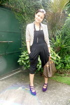 black random brand leggings - black H&M blouse - beige H&M blazer - purple janil