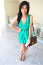 Green-rockwell-bazaar-dress-brown-zara-shoes-brown-louis-vuitton-accessories