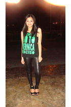 black DIY t-shirt - black H&M leggings - black Topshop swimwear - black H&M shoe
