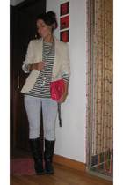 Mango blazer - Zara t-shirt - Bershka boots