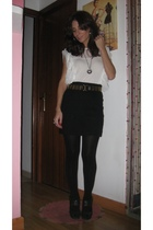 Zara blouse - H&M skirt - vintage belt