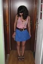 Bershka skirt - Zara t-shirt - vintage belt