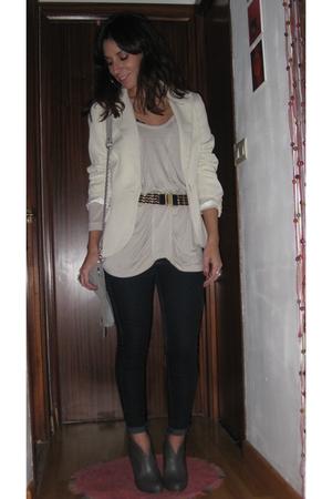 Mango blazer - Zara blouse - vintage belt - Zara purse