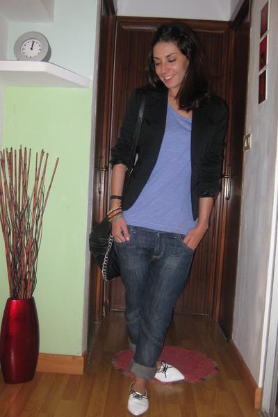 Zara t-shirt - AA blazer - Bershka jeans - vintage shoes - BLANCO purse